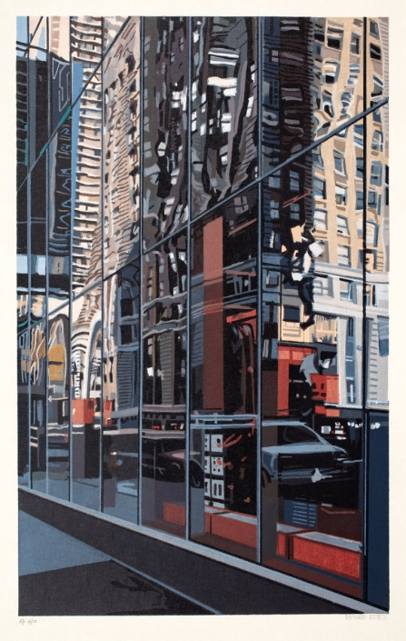Richard Estes, Detail, Times Square, 2000, Color Woodcut