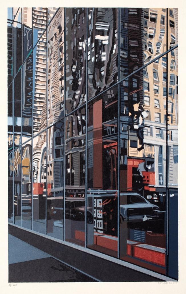 Richard Estes, Detail, Times Square, 2000, Color Woodcut