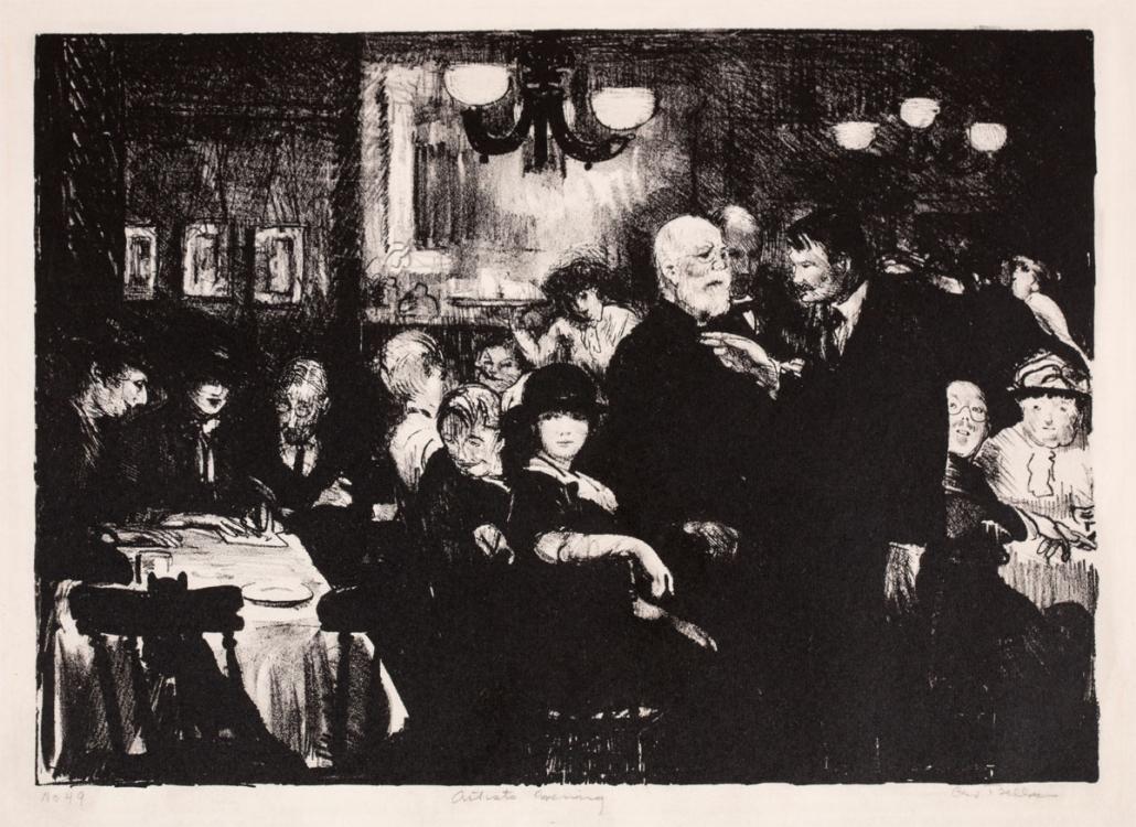 02.26 George Bellows, Artist's Evening, 1916. Lithograph