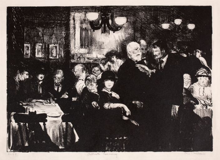 02.26 George Bellows, Artist's Evening, 1916. Lithograph