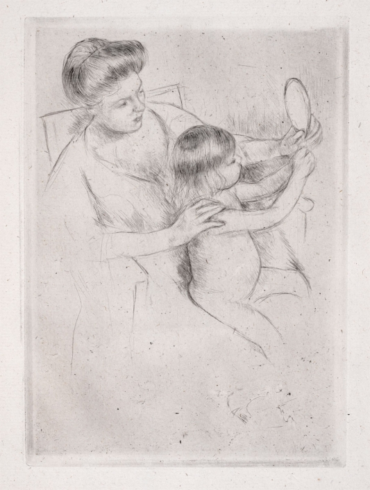 Mary Cassatt, Looking into the Hand Mirror, 1905, Drypoint