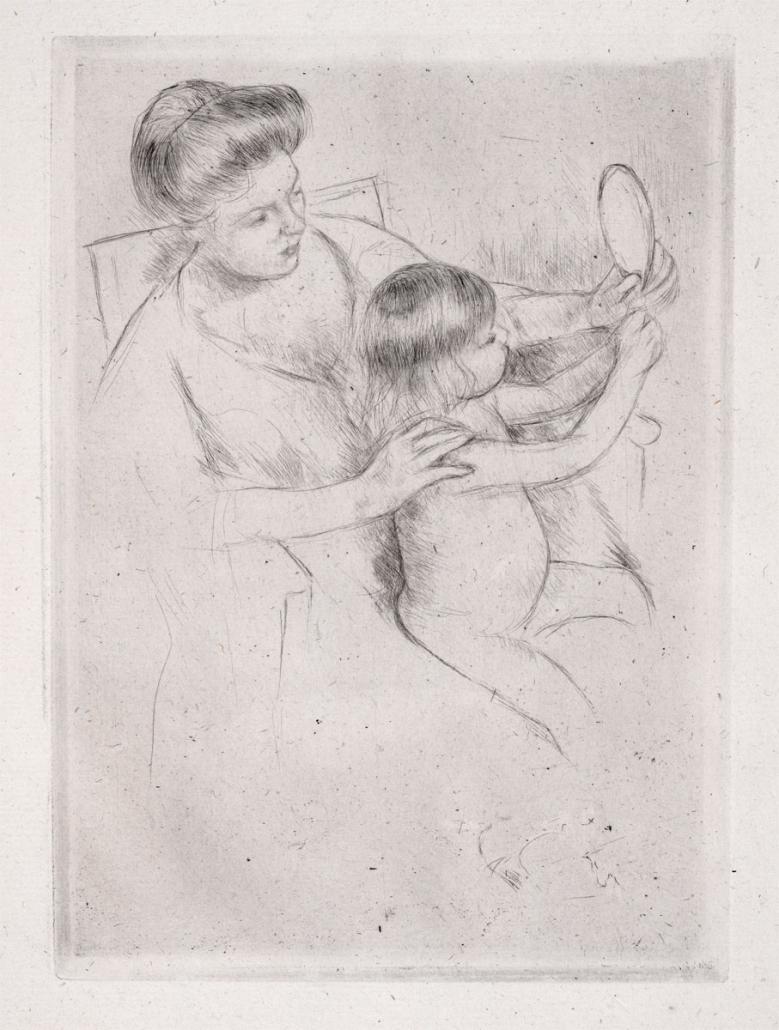 Mary Cassatt, Looking into the Hand Mirror, 1905, Drypoint