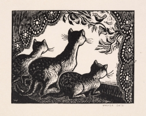 Wanda Gág, Cats at the Window, 1929, Wood engraving