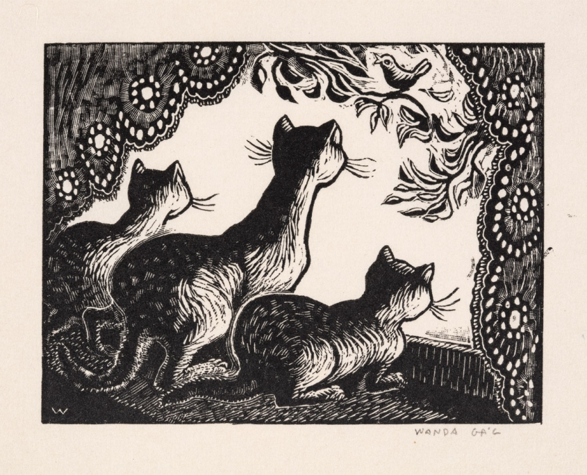 Wanda Gág, Cats at the Window, 1929, Wood engraving