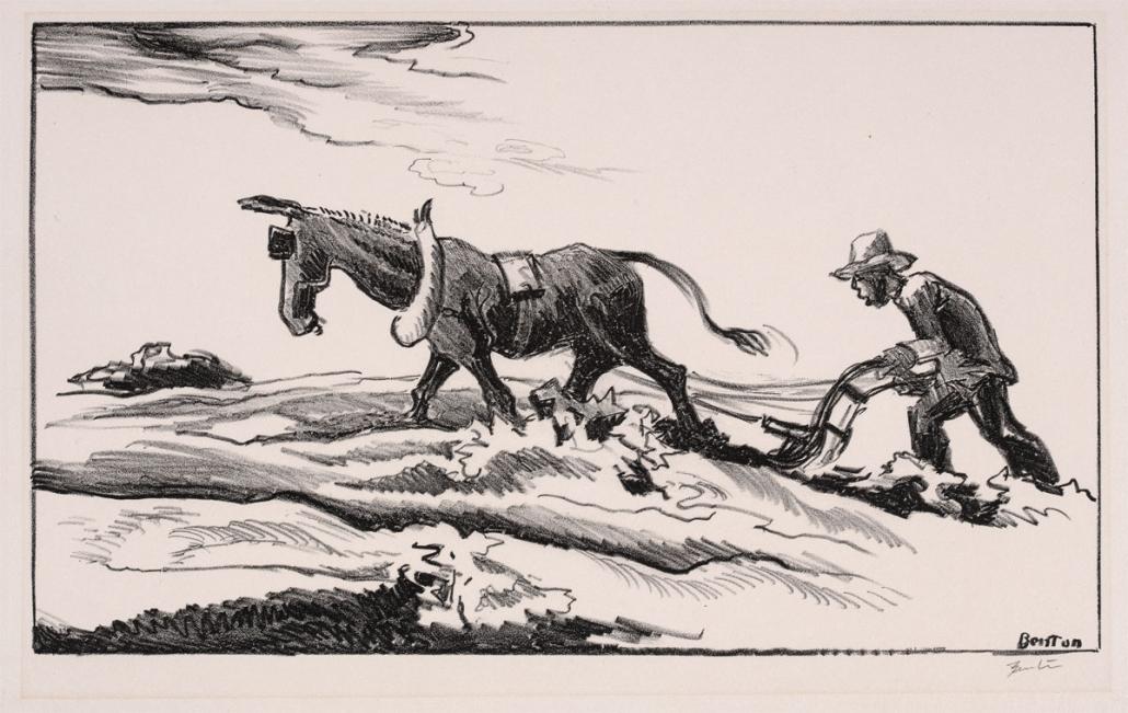 Thomas Hart Benton, Ploughing it Under, 1934, Lithograph