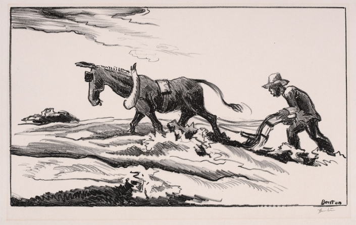 Thomas Hart Benton, Ploughing it Under, 1934, Lithograph