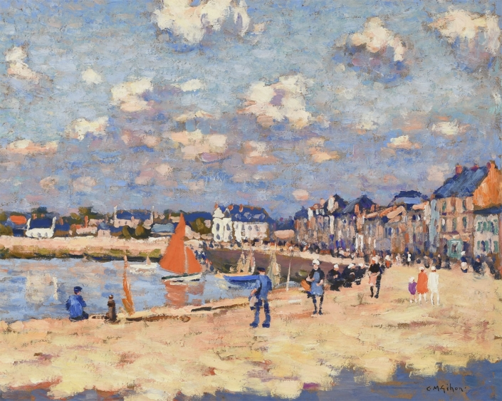 Clarence Gihon, The Waterfront at Sables, 1910-20, Oil on board