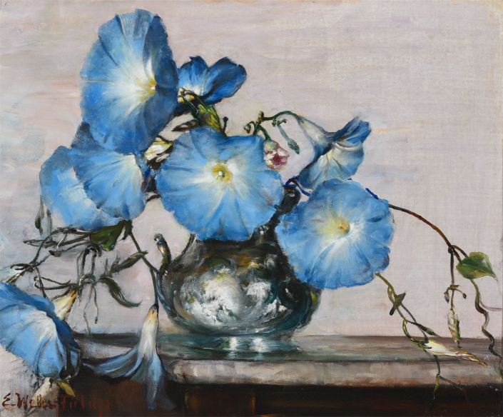 Elisabeth Weber-Fulop, Blue Morning Glories, 1950s, Oil on board